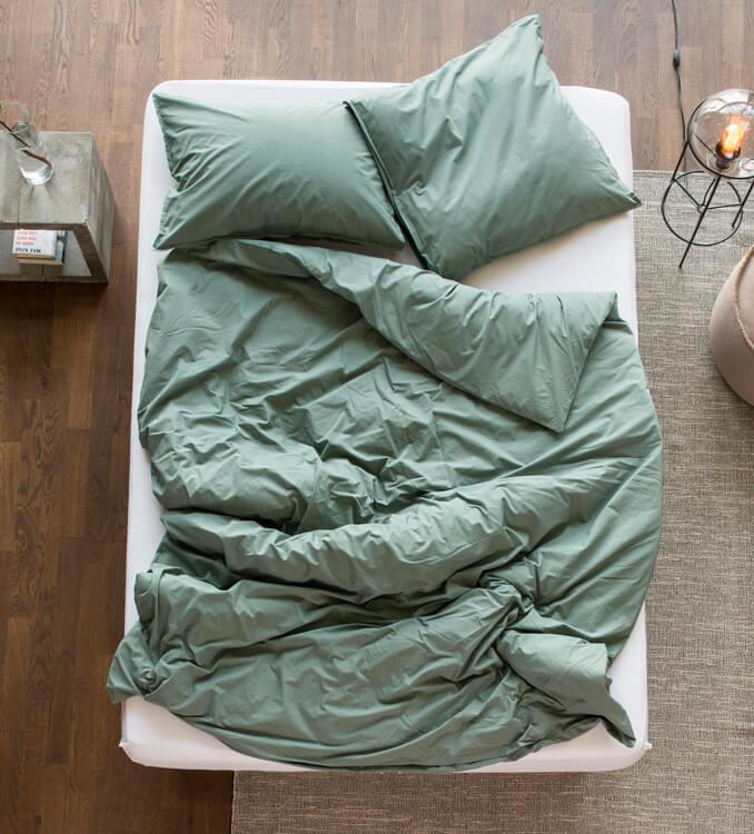 Grüne Bettwäsche aus Biobaumwolle