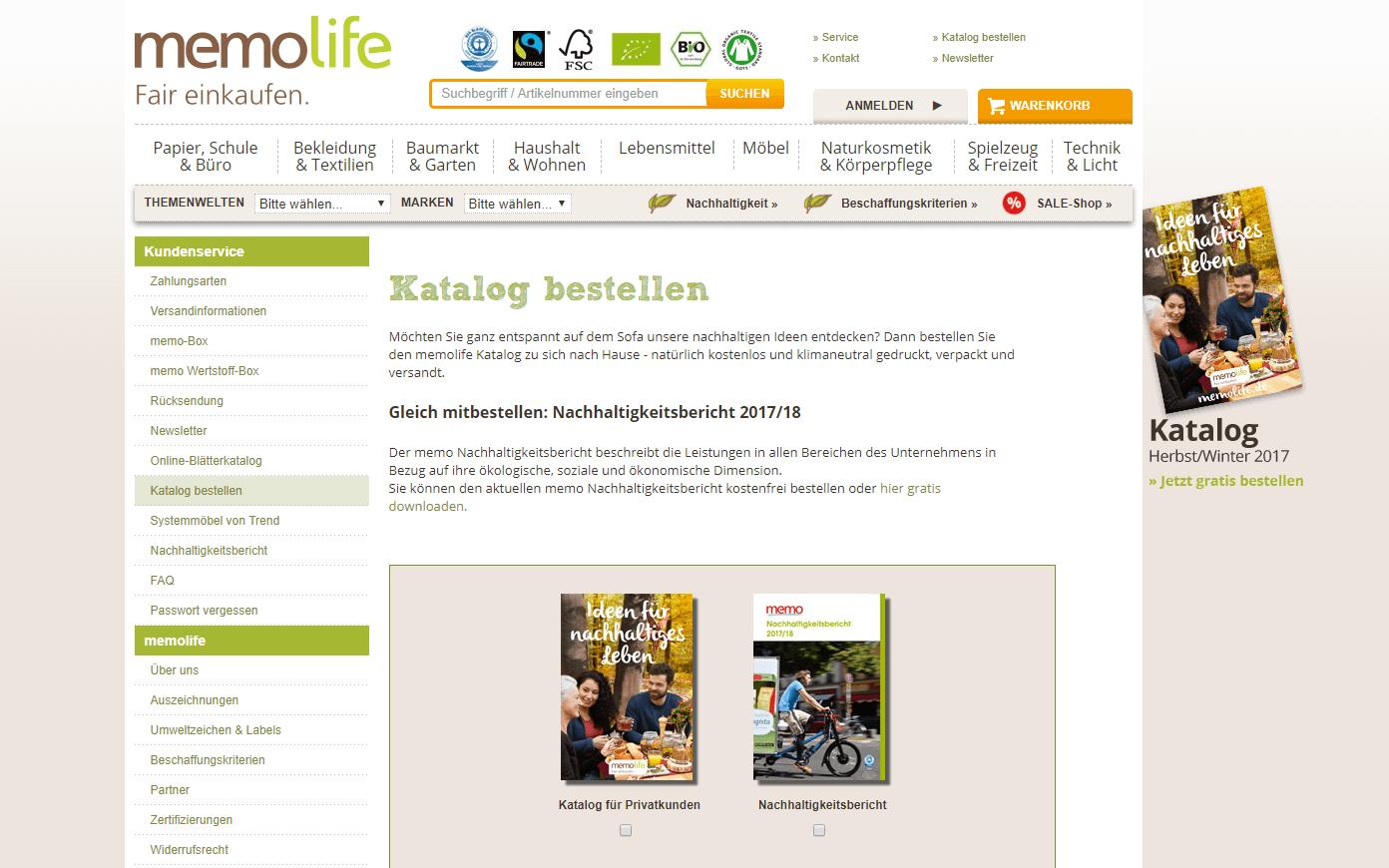 Screenshot aus dem Memo Online Shop, eine gute Alternative zu Amazon